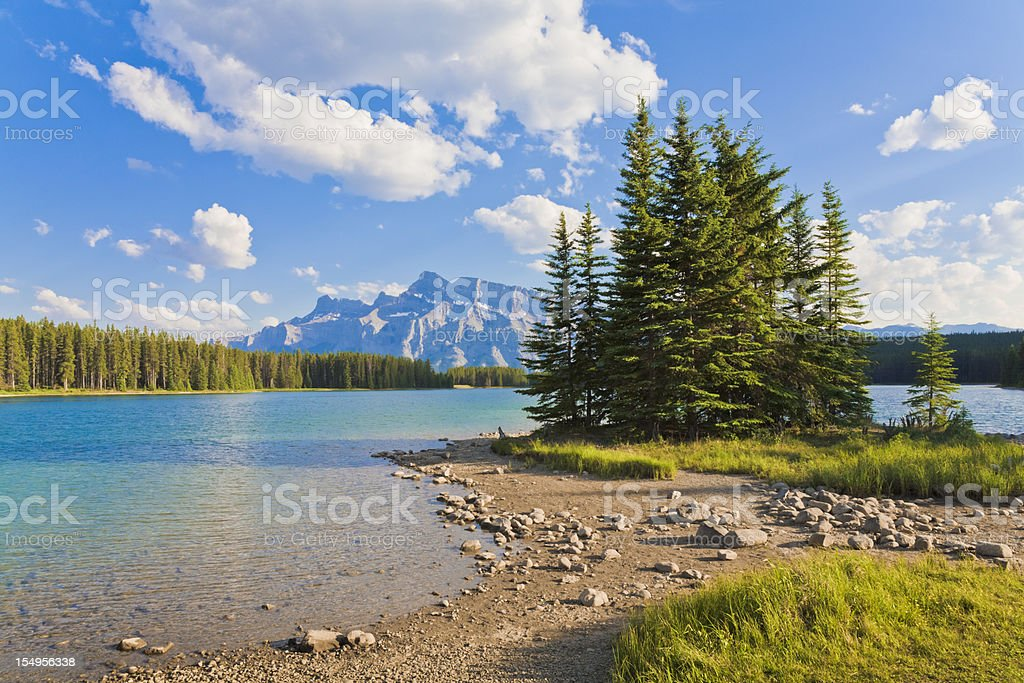 Mount Rundle from Two Jack Lake, Banff National Park royalty-free stock photo
