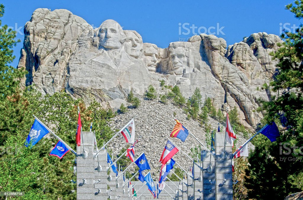 Mount Rushmore and the Avenue of Flags stock photo