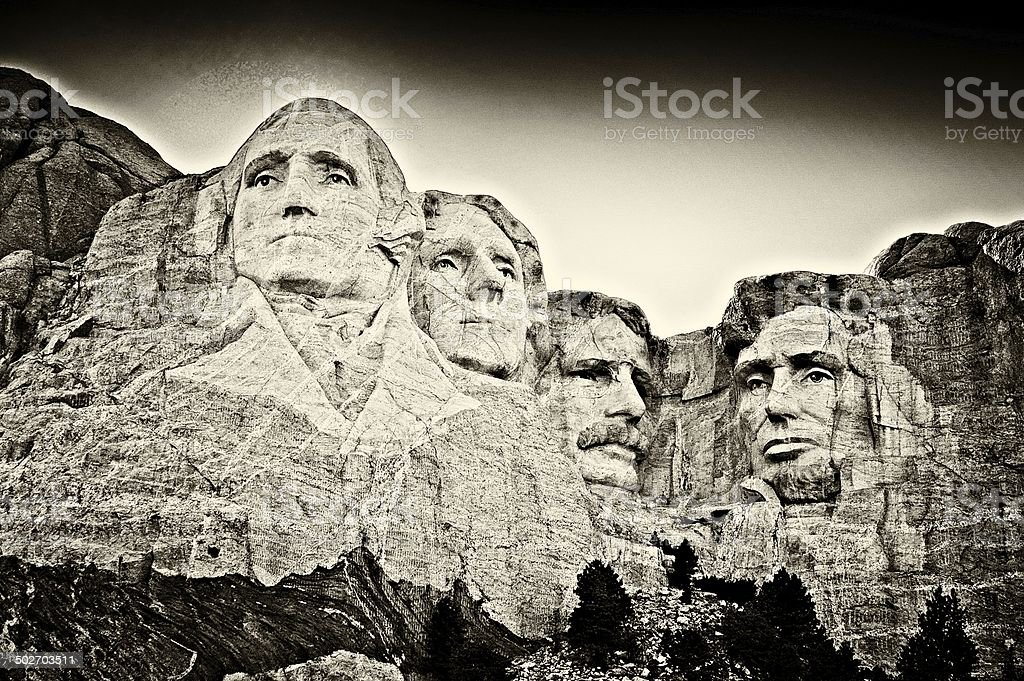 Mount Rushmore Fine Art- Sepia royalty-free stock photo