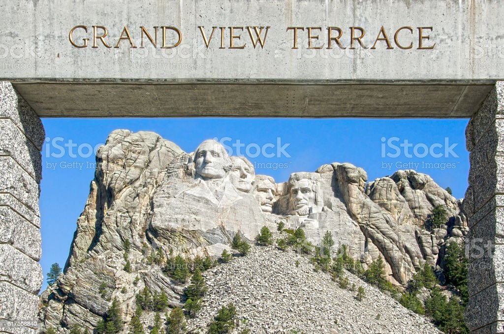 Mount Rushmore from Grand View Terrace stock photo