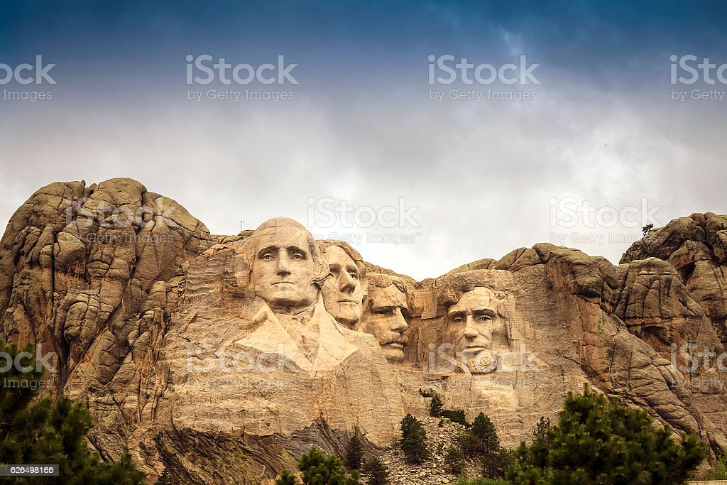 Mount Rushmore National Memorial Park in South Dakota, USA. Scul stock photo