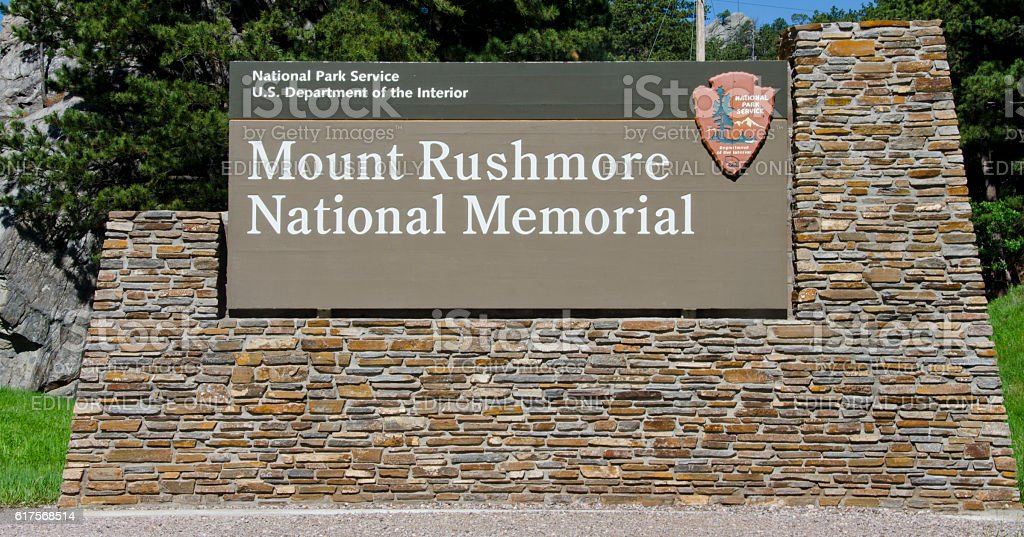 Mount Rushmore National Memorial Sign stock photo
