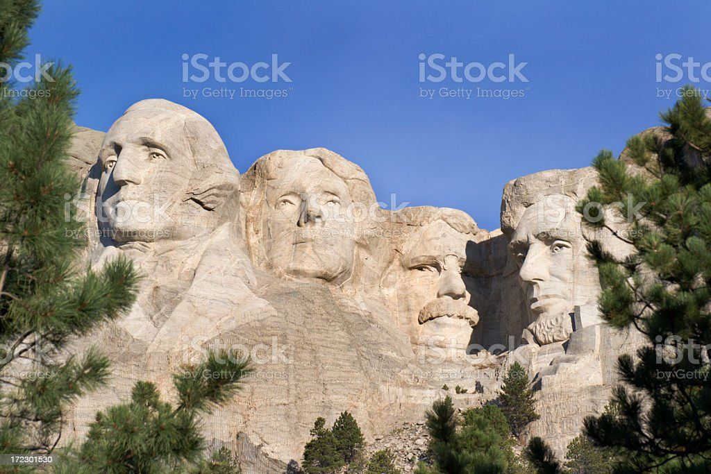 Mount Rushmore National Monument Framed by Trees, South Dakota, USA royalty-free stock photo