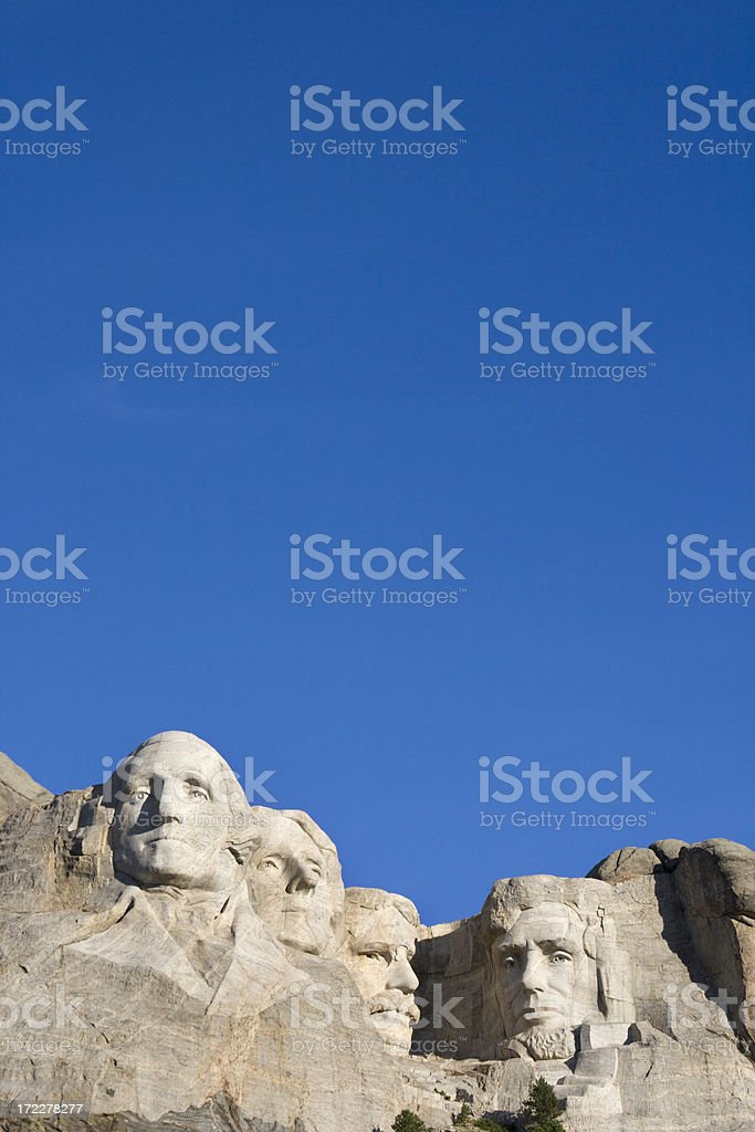 Mount Rushmore National Monument with Blue Sky, South Dakota, USA stock photo