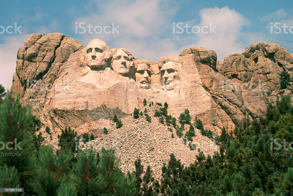 Mount Rushmore on a beautiful summer day. stock photo