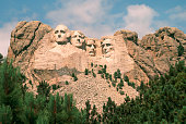 Mount Rushmore on a beautiful summer day.