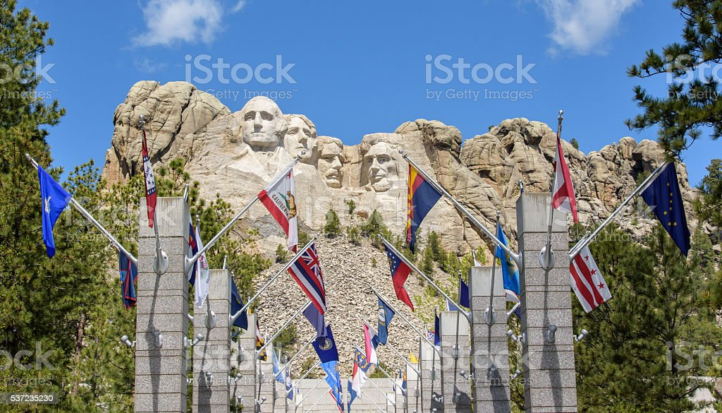 Mount Rushmore Presidents and State Flags stock photo