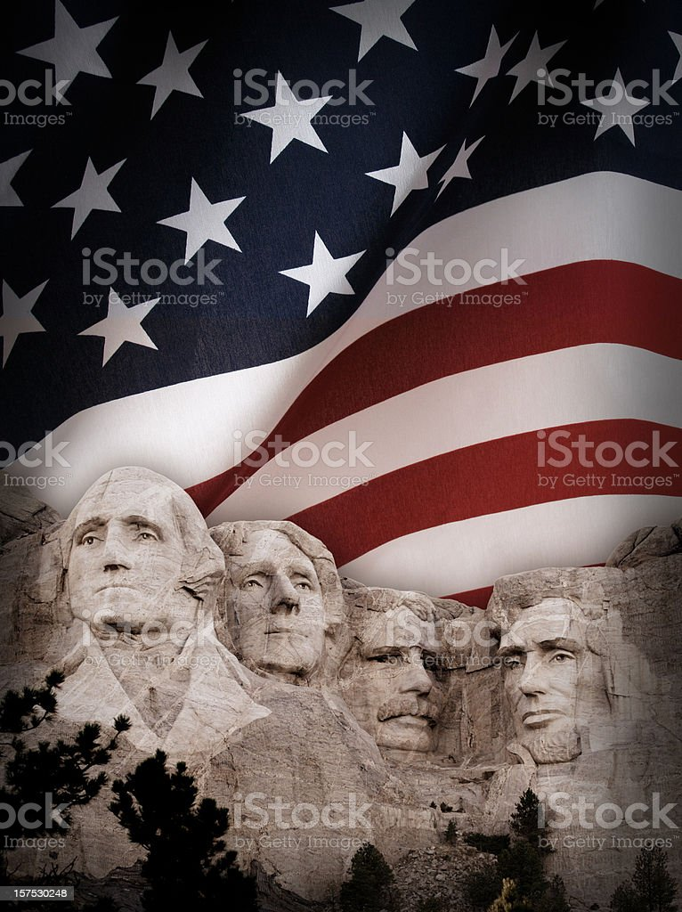 Mount Rushmore with American Flag Background royalty-free stock photo