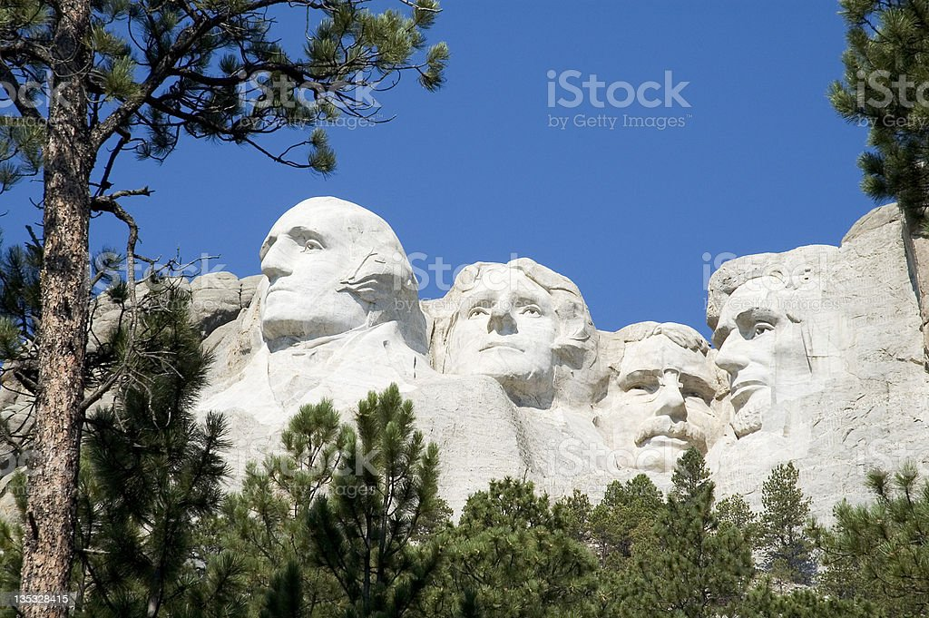 Mount Rushmore with natural frame stock photo