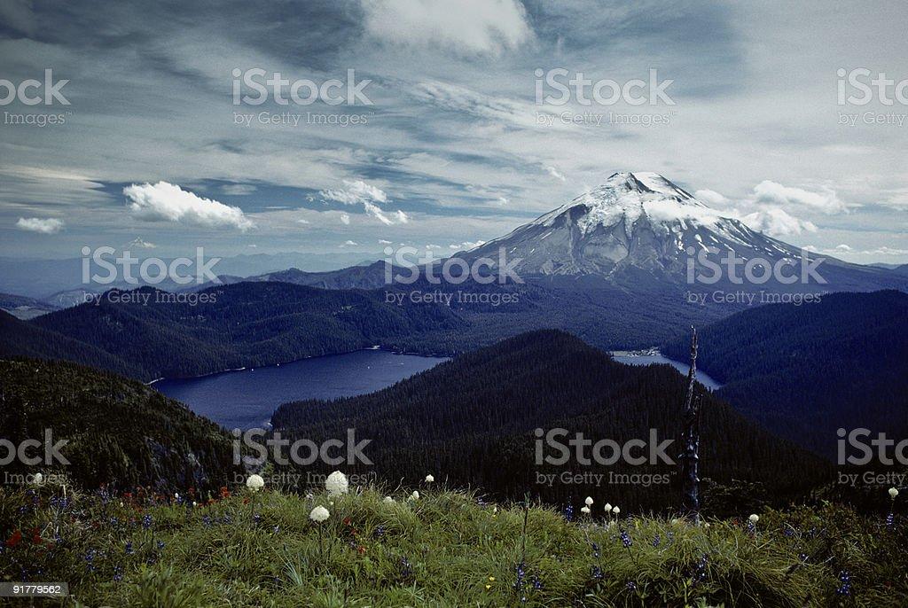 Mount Saint Helens and Spirit Lake Before the Eruption stock photo