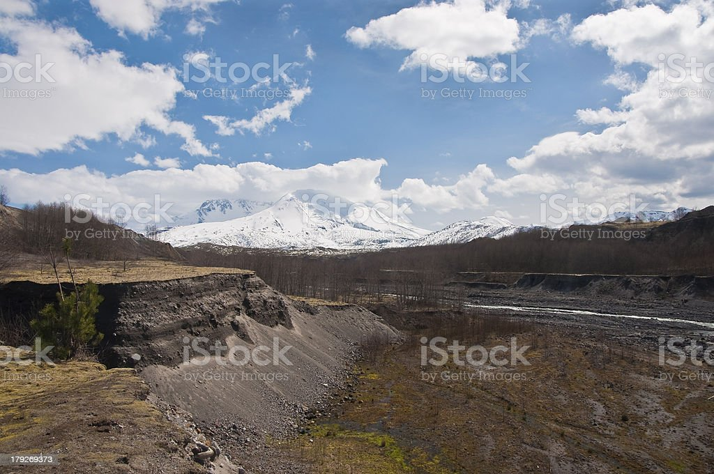 Mount Saint Helens and the Tuttle river royalty-free stock photo