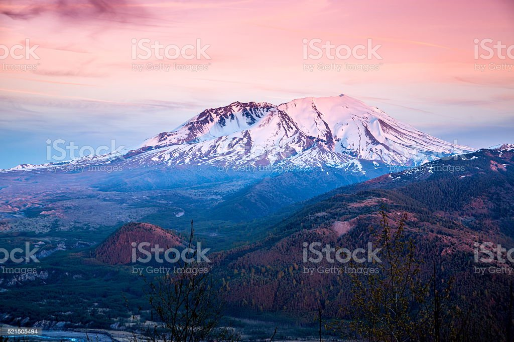 Mount Saint Helens at Sunset stock photo