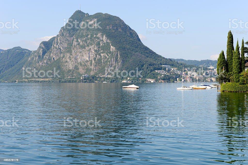 Mount San Salvatore on the lake of Lugano stock photo
