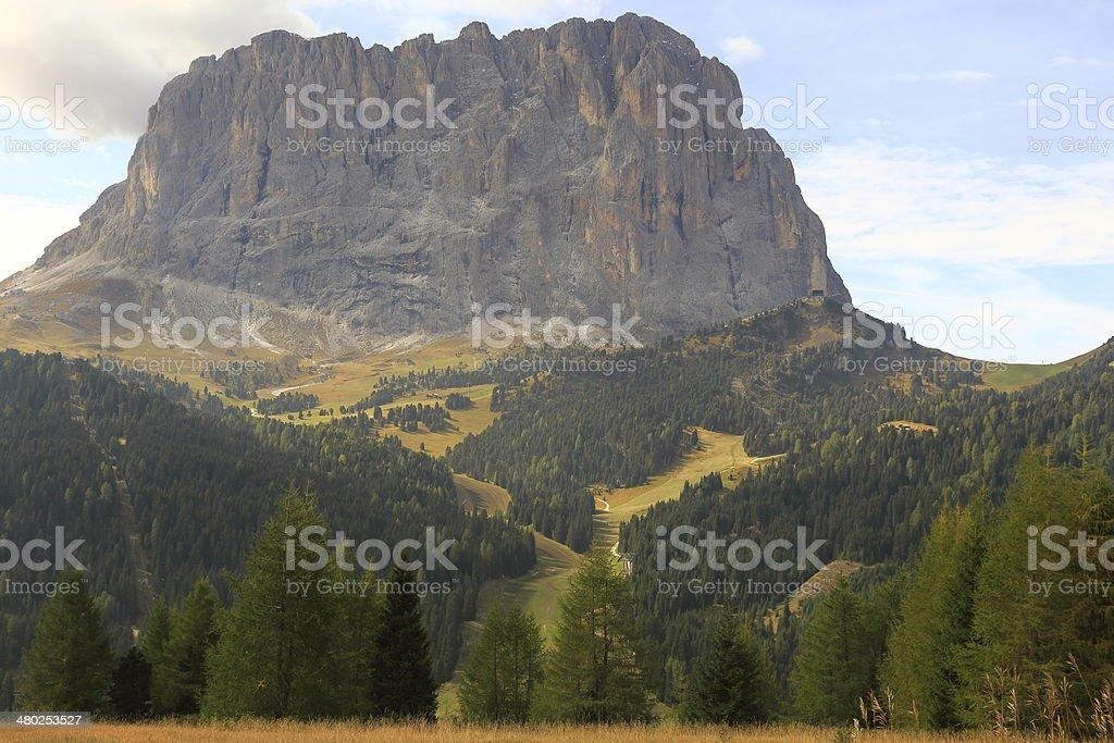 Mount Sassolungo - Val Gardena, Dolomites, Italy stock photo