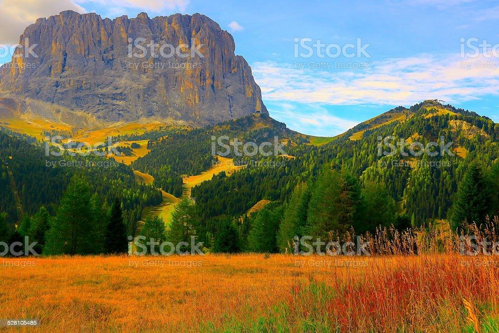 Mount Sassolungo - Val Gardena pass, Dolomites, Italy stock photo