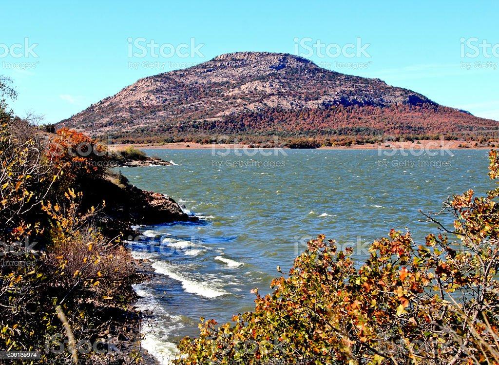Mount Scott and Lake Lawtonka in Wichita Mountains of Oklahoma stock photo