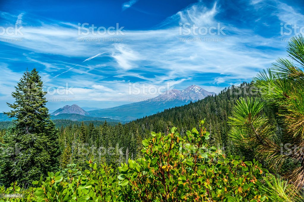 Mount Shasta, Black Butte in Northern California stock photo