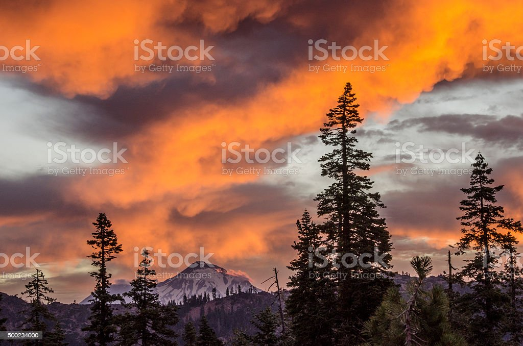 Mount Shasta dawn stock photo