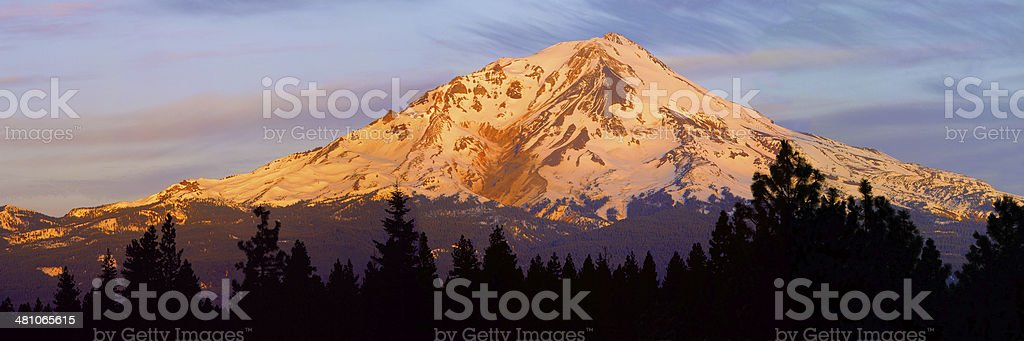 Mount Shasta Panorama stock photo