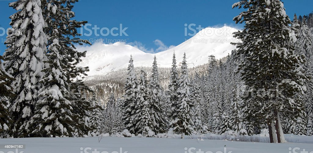 Mount Shasta winter stock photo
