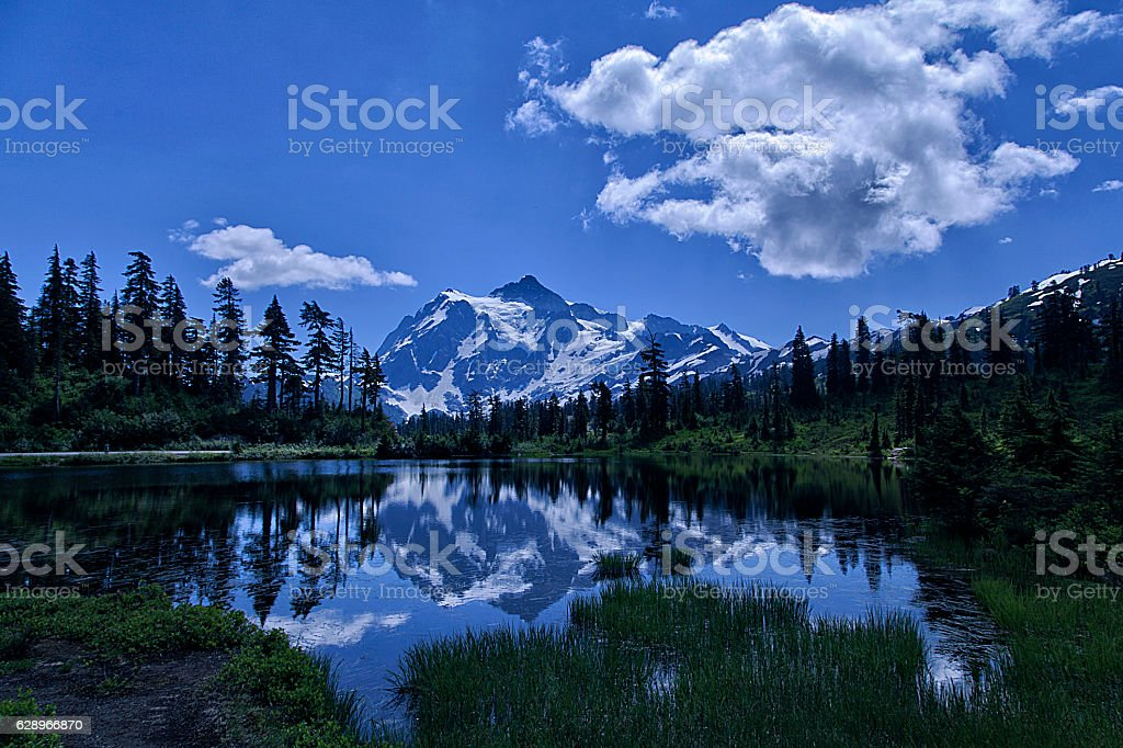 Mount Shuksan in summer stock photo