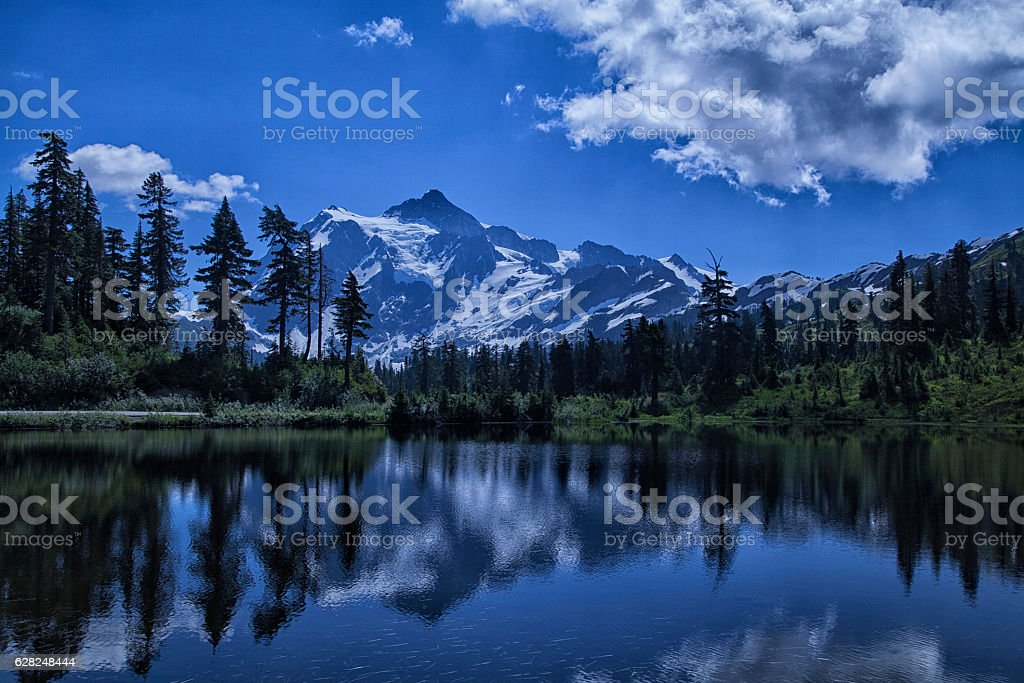 Mount Shuksan Reflection in summer stock photo