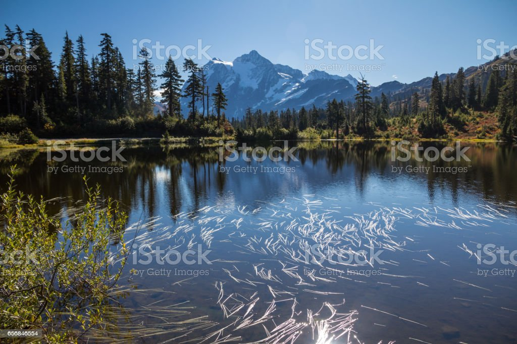 Mount Shuksan reflections in Picture Lake - horizontal image stock photo