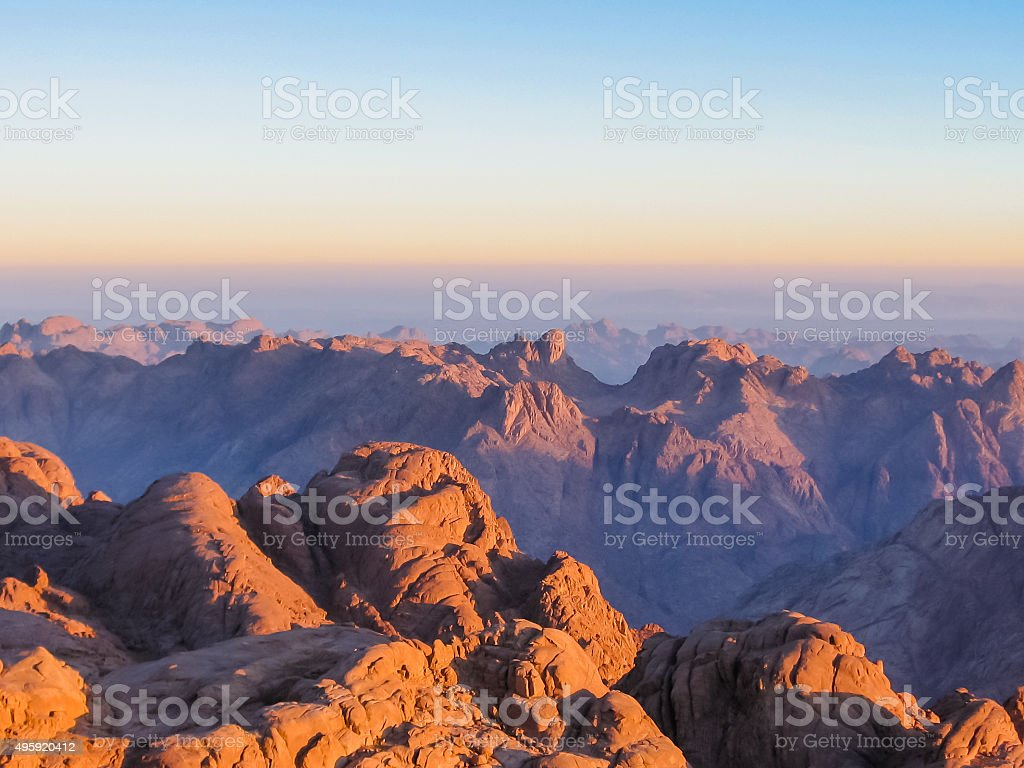 Mount Sinai at sunrise stock photo