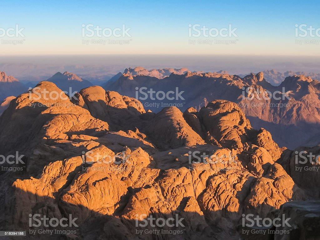 Mount Sinai at sunrise stock photo
