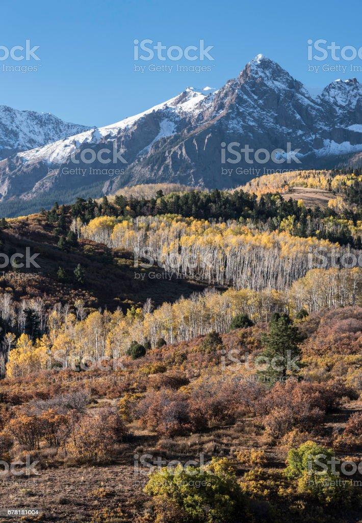 Mount Sneffels Mountain Range in Autumn stock photo