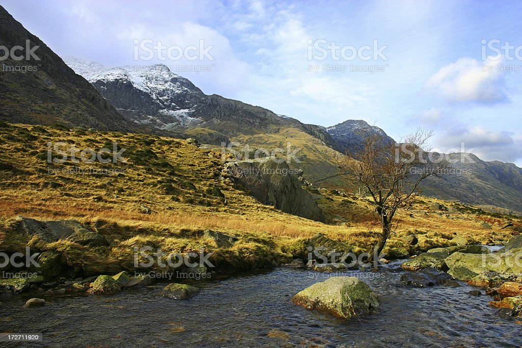 Mount Snowdon brook and moorland landscape royalty-free stock photo
