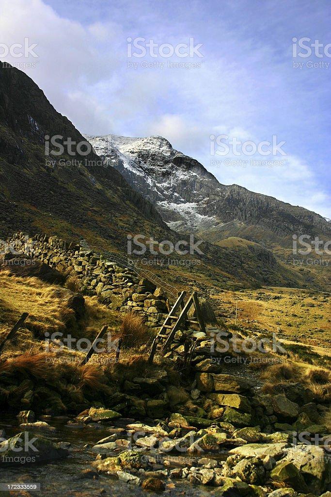 Mount Snowdon rustic landscape in Snowdonia North Wales stock photo