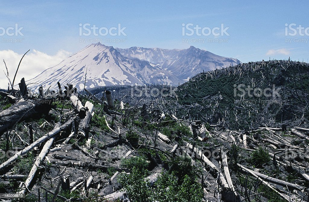 Mount St Helens 1988 Devastation Trees Crater Dome stock photo