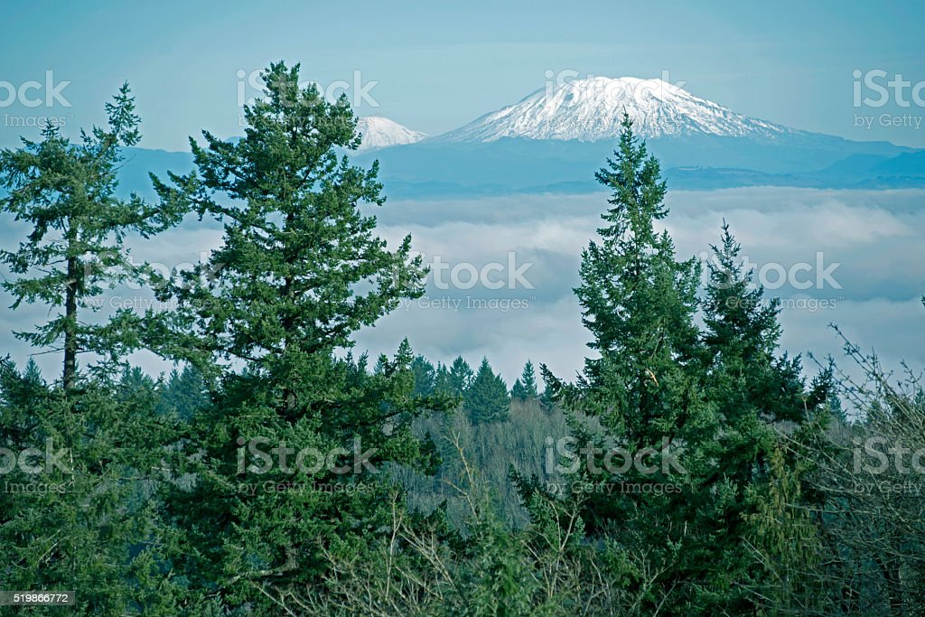 Mount St Helens and Mt Adams in Washington state stock photo