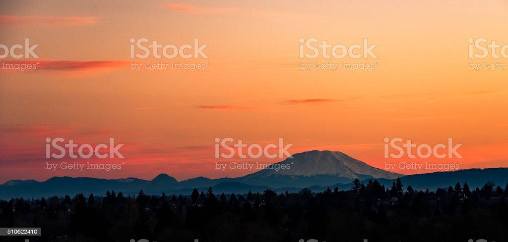 Mount St. Helens at Daybreak stock photo