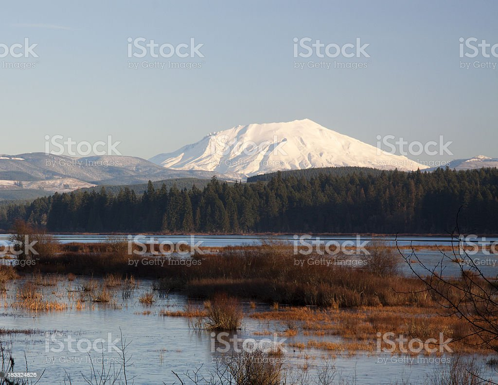 Mount St. Helens in the winter stock photo