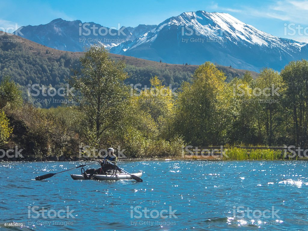 Mount St Helens Peak Dome Coldwater Lake with Pontoon Boat stock photo