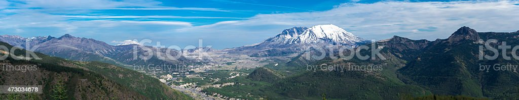Mount St Helens Summit Panoramic 35 Years after Volcanic Eruption stock photo