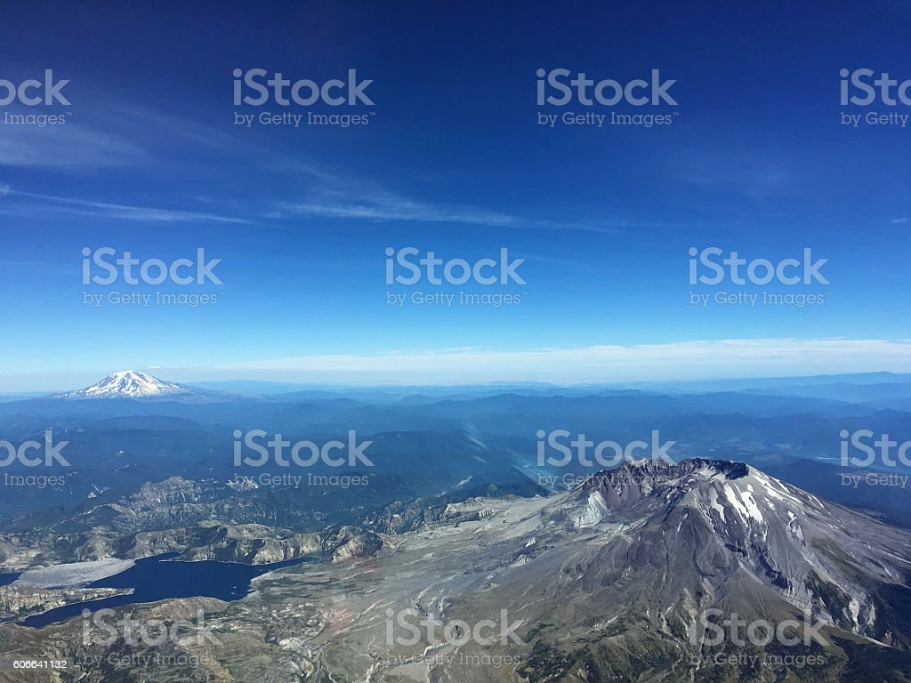 Mount St. Helens Volcano Mount Rainier from the air Pacific Northwest stock photo