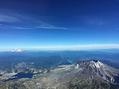 Mount St. Helens Volcano Mount Rainier from the air Pacific Northwest
