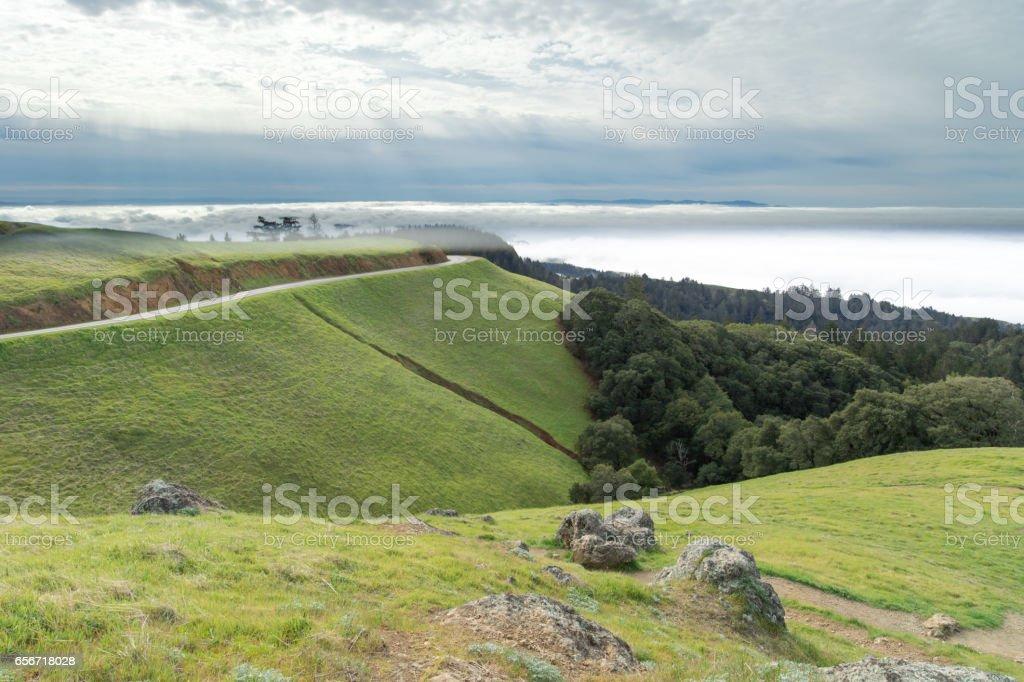 Mount Tamalpais Landscape in wintertime stock photo