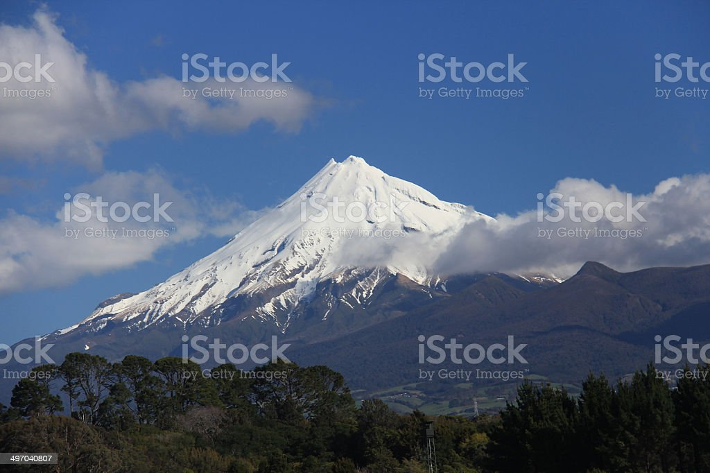 Mount Taranaki (Mount Egmont) in a clear day, New Zealand stock photo