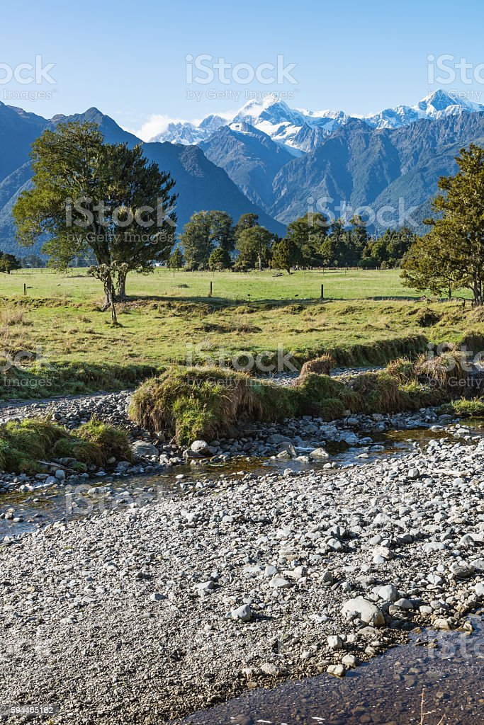 Mount Tasman and Mount Cook, New Zealand stock photo