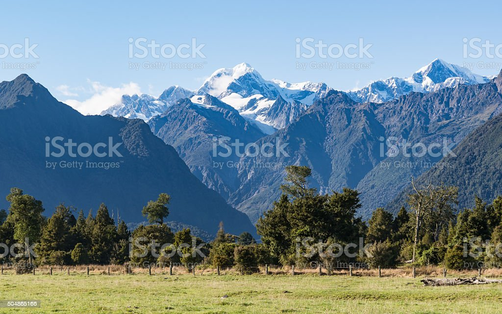 Mount Tasman and Mount Cook stock photo