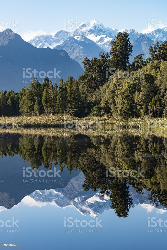 Mount Tasman reflections on Lake Matheson stock photo