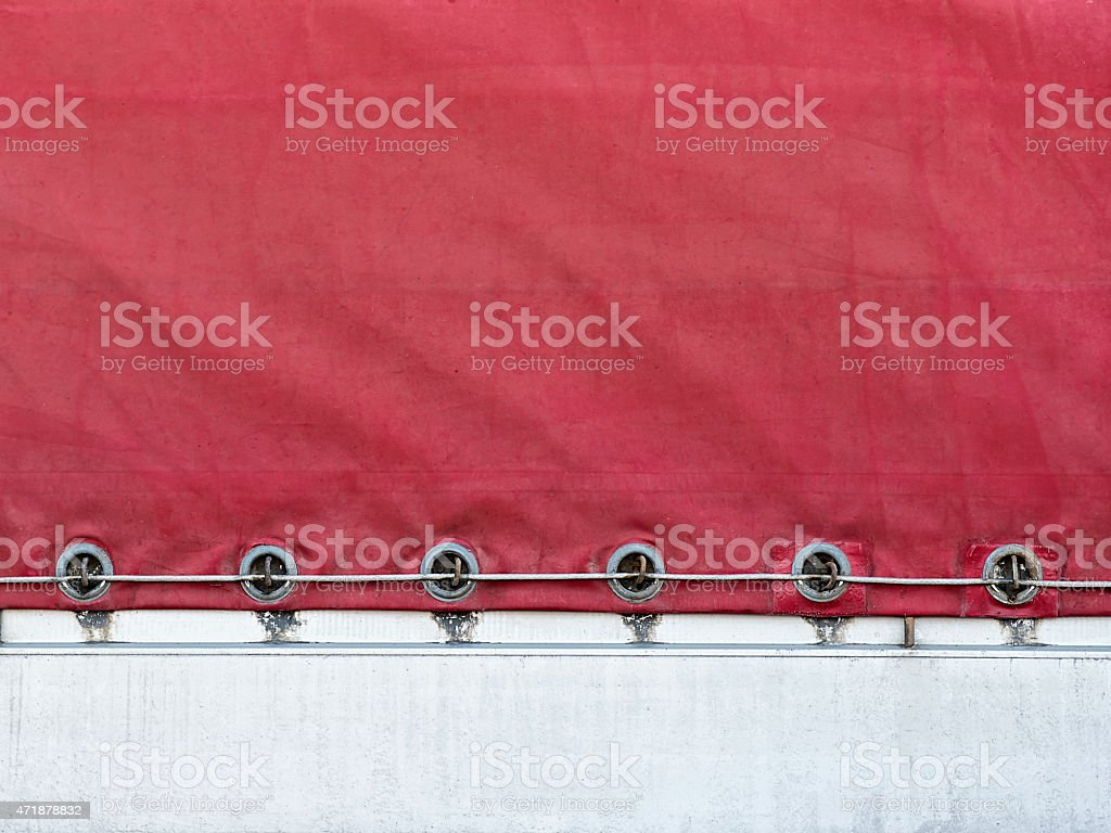 mount the awning to the body of  truck stock photo