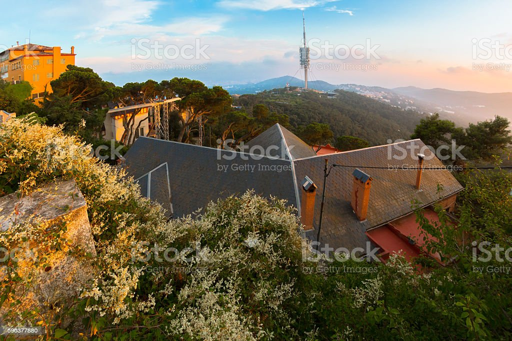 Mount Tibidabo View in Barcelona stock photo