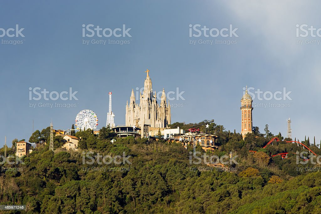 Mount Tibidabo with the church stock photo