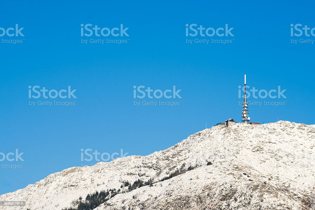Mount Ulriken in Bergen in winter stock photo
