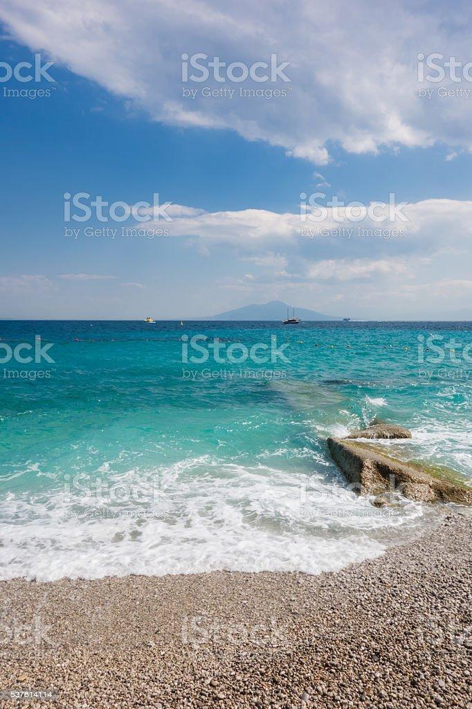Mount Vesuvio Seen From Capri Beach stock photo